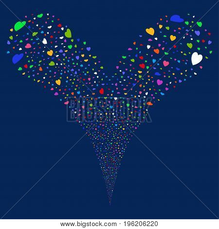 Valentine Petals fireworks stream. Vector illustration style is flat bright multicolored iconic valentine petals symbols on a blue background. Object fountain constructed from random pictograms.