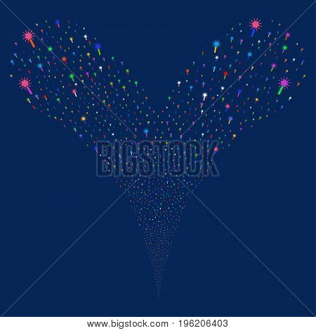 Wand Magic Tool fireworks stream. Vector illustration style is flat bright multicolored iconic wand magic tool symbols on a blue background. Object fountain combined from random pictograms.