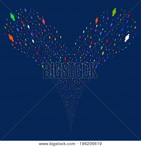 Woman Person fireworks stream. Vector illustration style is flat bright multicolored iconic woman person symbols on a blue background. Object fountain organized from random design elements.
