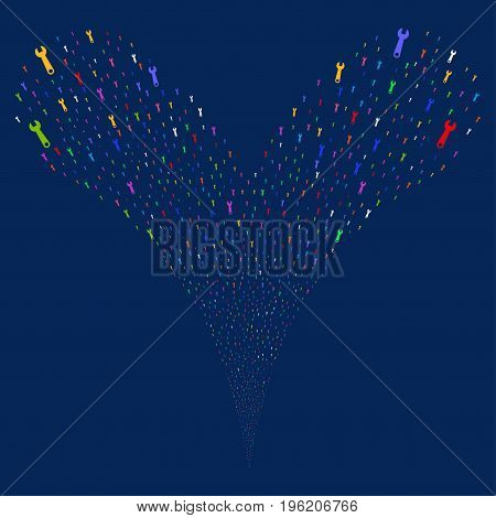 Wrench fireworks stream. Vector illustration style is flat bright multicolored iconic wrench symbols on a blue background. Object fountain made from random symbols.