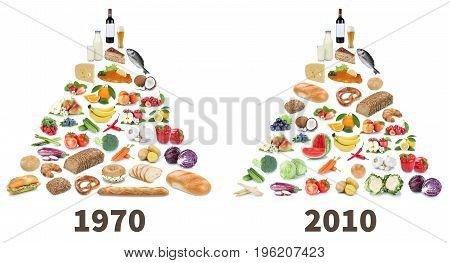 Food Pyramid Healthy Eating Comparison Fruits And Vegetables Fruit Collage Isolated