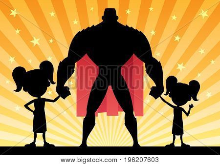 Cartoon illustration of super dad with his 2 daughters.
