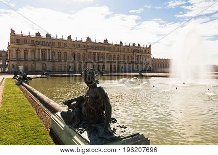 The Palace of Versailles as seen from the park, France.