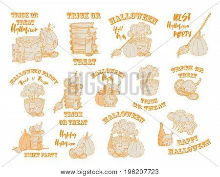 Halloween witch accessories orange sketches, set of objects isolated on the white background. Logo templates for party events, invitation with lettering and Halloween quotes like trick or treat. Vector isolated collection