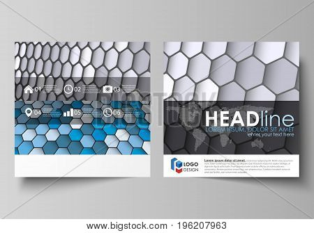 Business templates for square design brochure, magazine, flyer, booklet or annual report. Leaflet cover, abstract flat layout, easy editable vector. Blue and gray color hexagons in perspective. Abstract polygonal style modern background.