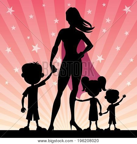 Cartoon illustration of super mom with her 3 kids.