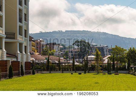 View from green terrace in hotel on resort town balchik black sea coast in Bulgaria.