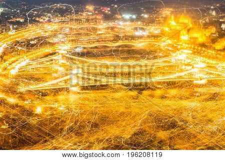Abstract Budapest Panorama with parliament and bridges with many yellow light trails. Abstract image.