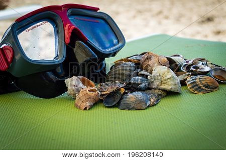 mask scuba dive with sea shells on the sea coast. blue green background.