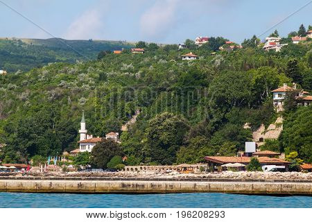 Cityscape view of balchik city palace of queen Marie on black sea coast in Bulgaria.