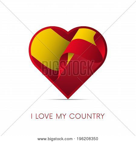Spain flag in heart. I love my country. sign. vector illustration.