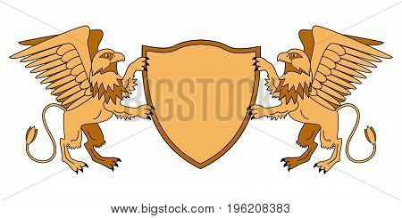 Griffins holding a shield. Emblem with mythological animals. Medieval theme. Heraldry. Vector illustration.