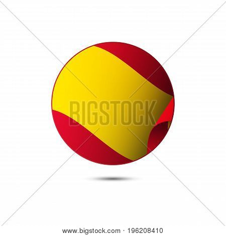 Spain flag button on a white background. Vector illustration.