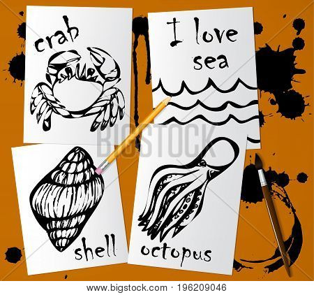 Graphic drawings of marine animals made with black mascara on white paper. Pencil brush and blots of ink on the table. Drawing and creativity on the sea theme. Vector illustration.
