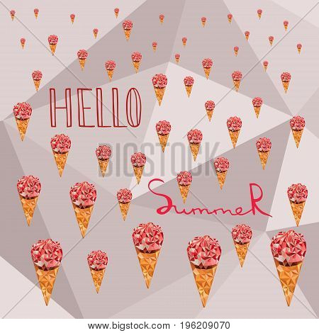 Low poly Ice cream in cone. Hello summer caption. Polygonal vector. Geometric triangular modern design.