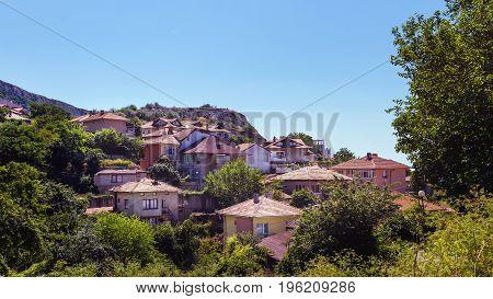 Cityscape of balchik town houses on the hill black sea coast in Bulgaria.