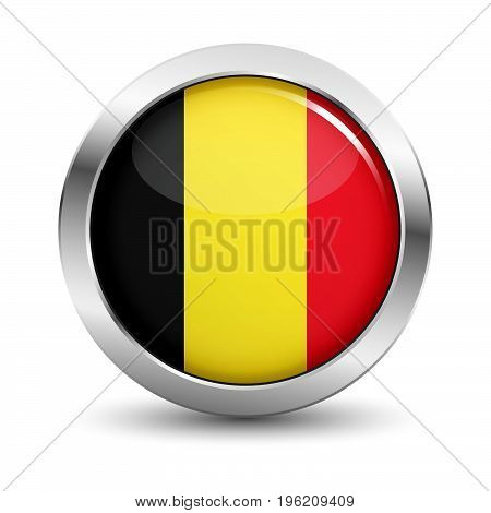 Belgium icon silver glossy badge button with Belgian flag and shadow vector EPS 10 illustration on white background.