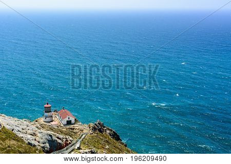 Lighthouse at Point Reyes National Seashore overlooking the Pacific Ocean