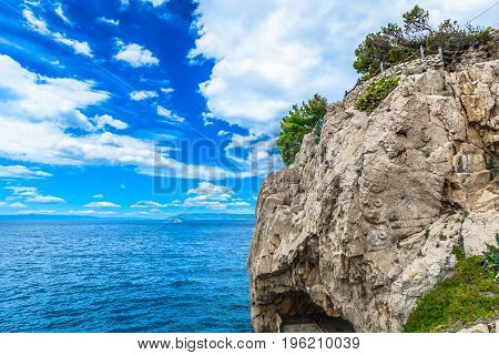 Mediterranean background in heart of marble Croatia, popular summer tourist resort in Europe.