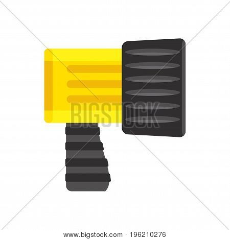 Handheld waterproof flashlight for tourist and diver search objects in dark under water. Light source in trekking and traveling. Flat vector cartoon icon. Objects isolated on white background.