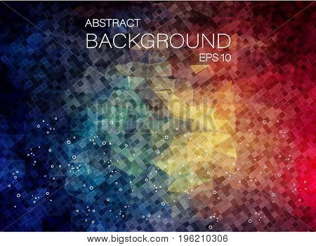 Flat 2D Background of small square shapes. Colorful mosaic pattern.