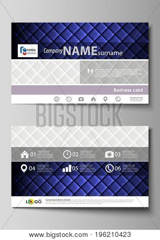 Business card templates. Easy editable layout, abstract vector design template. Shiny fabric, rippled texture, white and blue silk, colorful vintage style background