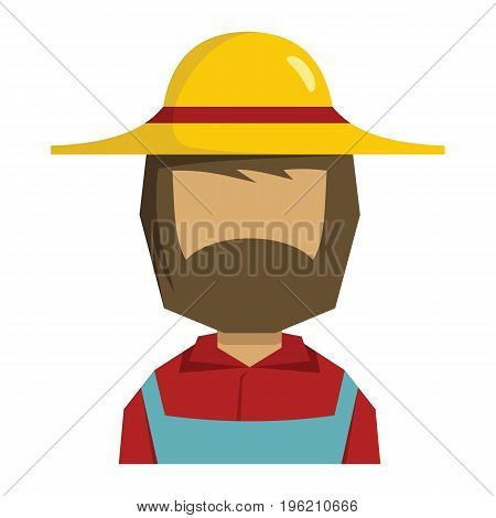 Farmer flat cartoon icon. Farmer man vector illustration for design and web isolated on white background. Agro man vector object for labels, logos and advertising