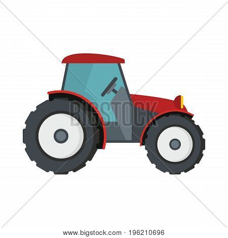 Tractor flat cartoon icon. Agricultural mashine vector illustration for design and web isolated on white background. Tractor vector object for labels, logos and advertising