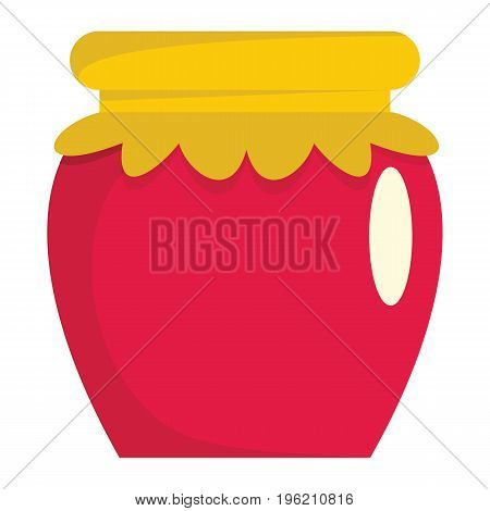 Jar of jam flat cartoon icon. Glass jar vector illustration for design and web isolated on white background. Jar of jam vector object for labels, logos and advertising