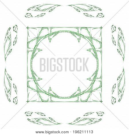 Abstract Grunge Green Isolated Floral Pattern
