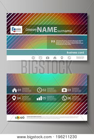 Business card templates. Easy editable layout, abstract vector design template. Minimalistic design with circles, diagonal lines. Geometric shapes forming beautiful retro background