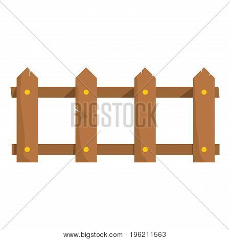 Wooden fence flat cartoon icon. Palisade vector illustration for design and web isolated on white background. Wooden fence vector object for labels, logos and advertising