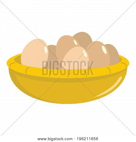 Basket with eggs flat cartoon icon. Basket with eggs vector illustration for design and web isolated on white background. Basket with eggs vector object for labels, logos and advertising