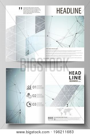 Business templates for bi fold brochure, magazine, flyer, booklet or annual report. Cover design template, easy editable vector, abstract flat layout in A4 size. Chemistry pattern, connecting lines and dots, molecule structure, scientific medical DNA rese