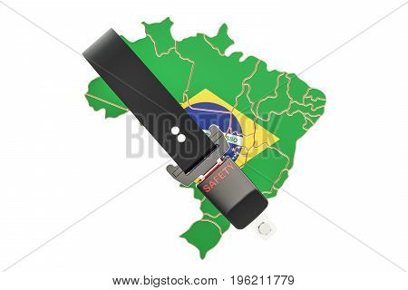 Brazilian map with safety belt. Security and protect or insurance concept 3D rendering