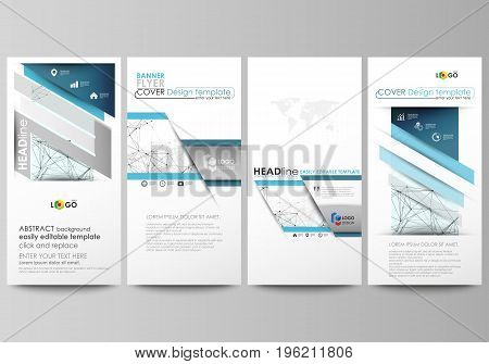 Flyers set, modern banners. Business templates. Cover design template, easy editable abstract vector layouts. Chemistry pattern, connecting lines and dots, molecule structure on white, geometric graphic background.