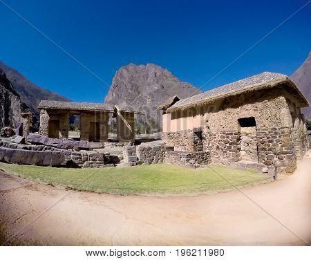 Fortress of Ollataytambo Inca ruins in Sacred Valley near Cusco, Peru