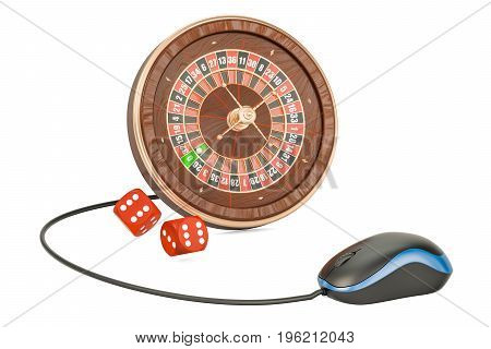 Online Casino concept. Roulette with computer mouse 3D rendering isolated on white background