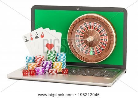Online Casino concept with laptop 3D rendering isolated on white background