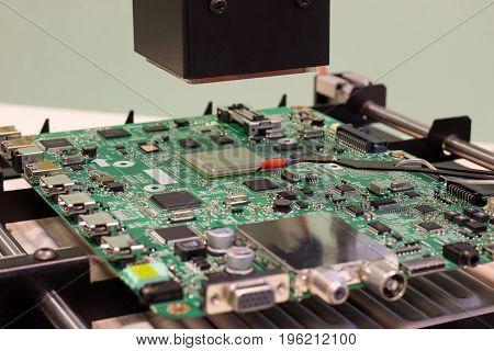 digital infrared soldering station ready for work