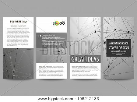 Flyers set, modern banners. Business templates. Cover design template, easy editable abstract vector layouts. Chemistry pattern, molecule structure on gray background. Science and technology concept