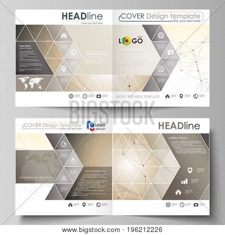 Business templates for square design bi fold brochure, magazine, flyer, booklet or annual report. Leaflet cover, abstract flat layout, easy editable vector. Technology, science, medical concept. Golden dots and lines, cybernetic digital style. Lines plexu