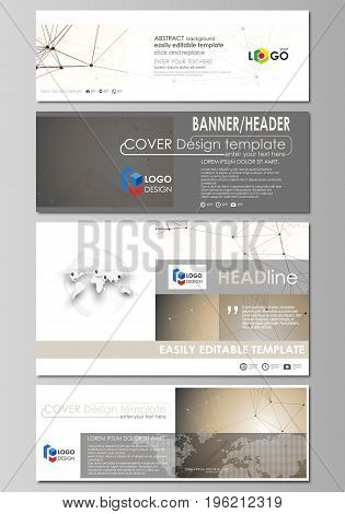 Social media and email headers set, modern banners. Business templates. Easy editable abstract design template, vector layouts in popular sizes. Technology, science, medical concept. Golden dots and lines, cybernetic digital style. Lines plexus.