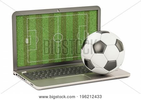 laptop with soccer ball 3D rendering isolated on white background