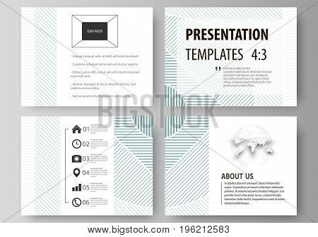 Set of business templates for presentation slides. Easy editable abstract vector layouts in flat design. Minimalistic background with lines. Gray color geometric shapes forming simple beautiful pattern.