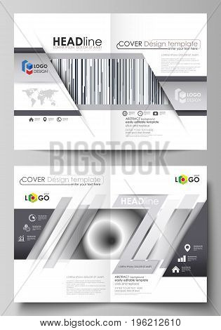 Business templates for bi fold brochure, magazine, flyer, booklet or annual report. Cover design template, easy editable vector, abstract flat layout in A4 size. Simple monochrome geometric pattern. Minimalistic background. Gray color shapes.