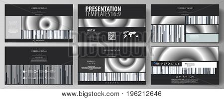 Business templates in HD format for presentation slides. Easy editable abstract vector layouts in flat design. Simple monochrome geometric pattern. Minimalistic background. Gray color shapes