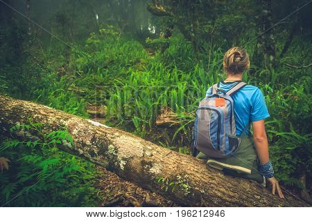 Girl resting on a fallen tree log the jungle path to the summit of Gunung Rinjani volcano in Lombok, Indonesia