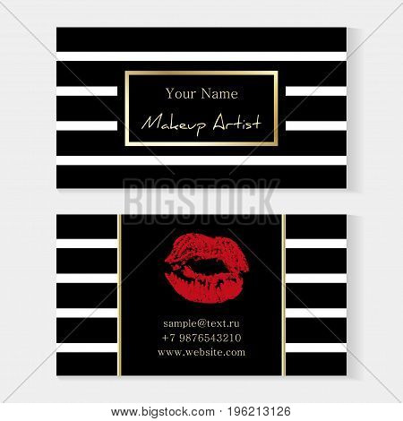 Makeup Artist Stylish Business Card. Artistic Templates With Trace Of A Red Lipstick, Kiss On A Stri