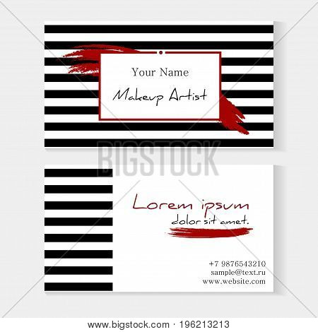 Makeup Artist Template Business Card. Striped Background With Red Lipstick Smeared With Place For Yo